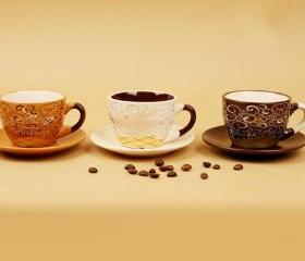 Lovly Coffee Cups with Plate Set for Family