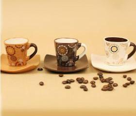 Lovly Print Coffee Cups with Plate Set for Family