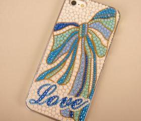 Blue and Mint Color Bowtie and Love Case for iPhone 5