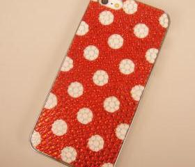 White Polka Dots Red Case for iPhone 5