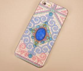 Blue Central Gemstone Embellished Case for iPhone 5