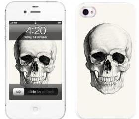 Handmade iPhone Cases-Black and White Skull(iPhone 4/4S,iPhone 5)